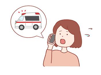 救急車を呼ぶ女性のイラスト画像
