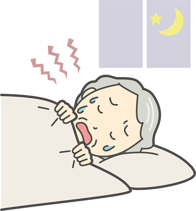 いびきをかいて寝いている高齢者