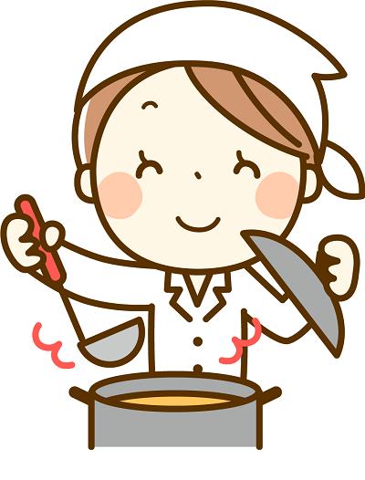 食事を作る介護職員のイラスト
